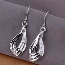 Wholesale High Quality silver plated Silver Plated earings Corrugated Three wire Earrings for Women best gift