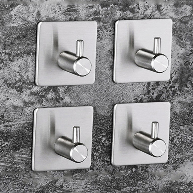 New Stainless Steel 304 Adhesive Hooks Household Punch Free Wall