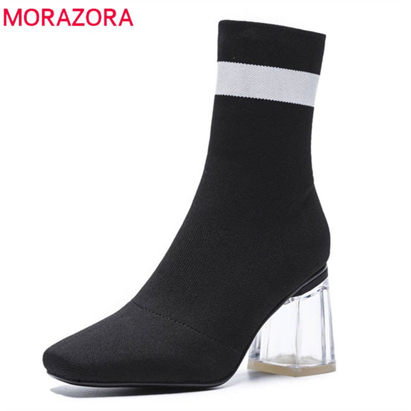 MORAZORA 2018 new fashion shoes woman autumn ankle boots women elegant Stretch socks boots sexy high heels shoes woman blackMORAZORA 2018 new fashion shoes woman autumn ankle boots women elegant Stretch socks boots sexy high heels shoes woman black
