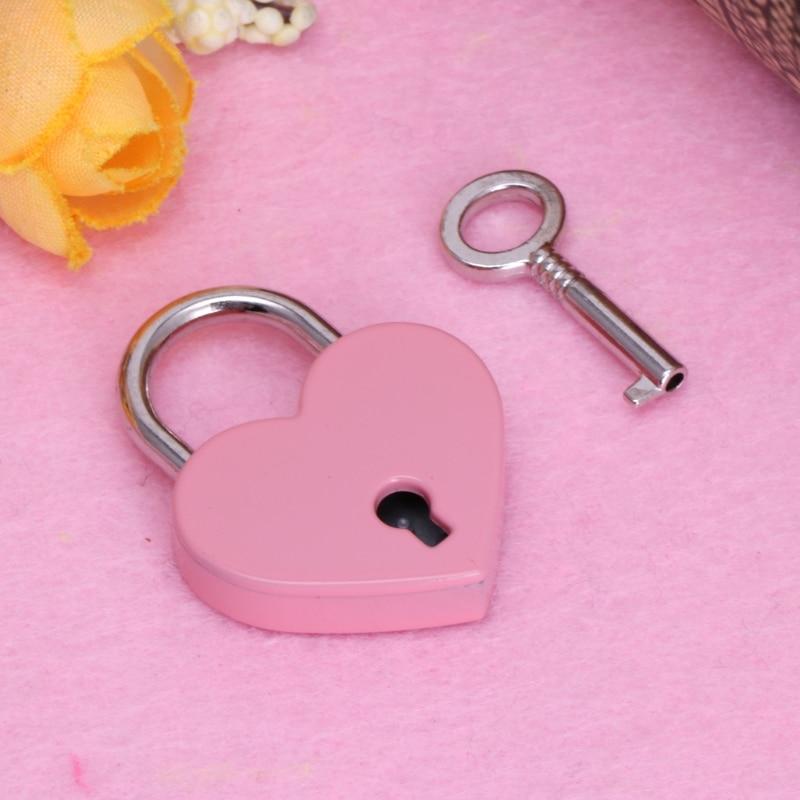 Hot Sale Mini Heart-shaped  Padlocks Key Lock With Key For Handbag/Small Luggage Toy/Box Security.