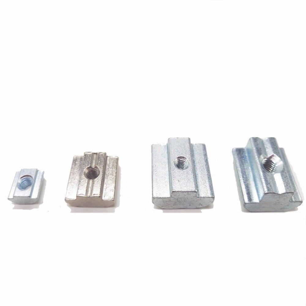 10PCS T Sliding Nut Zinc Coated Plate 2020/3030/4040/4545 Series M3/M4/M5/M6/M8/M10 Aluminum Thread 10pcs m3 round aluminum alloy long nut studs standoffs fastener 8 10 15 20 25 30 35mm