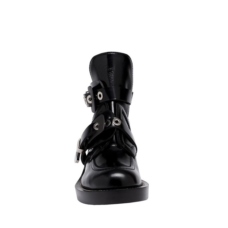 Évider Rond Style Cuir Femmes Angleterre Bottes Picture As Picture Bout Véritable Boucle Bottines Conception as Rétro Marque Femme De En Chaussures Martin XnO80Pwk