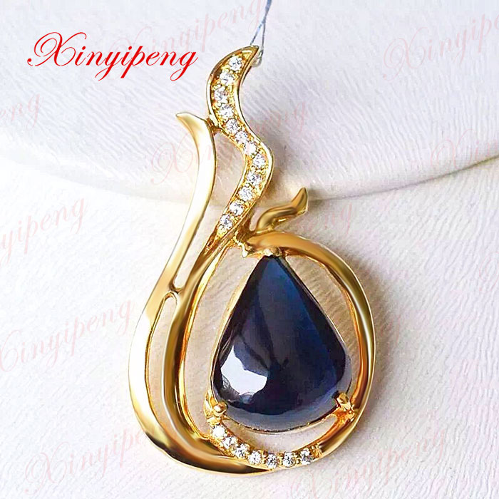 18 k gold natural sapphire pendant female blue Precious jewelry18 k gold natural sapphire pendant female blue Precious jewelry