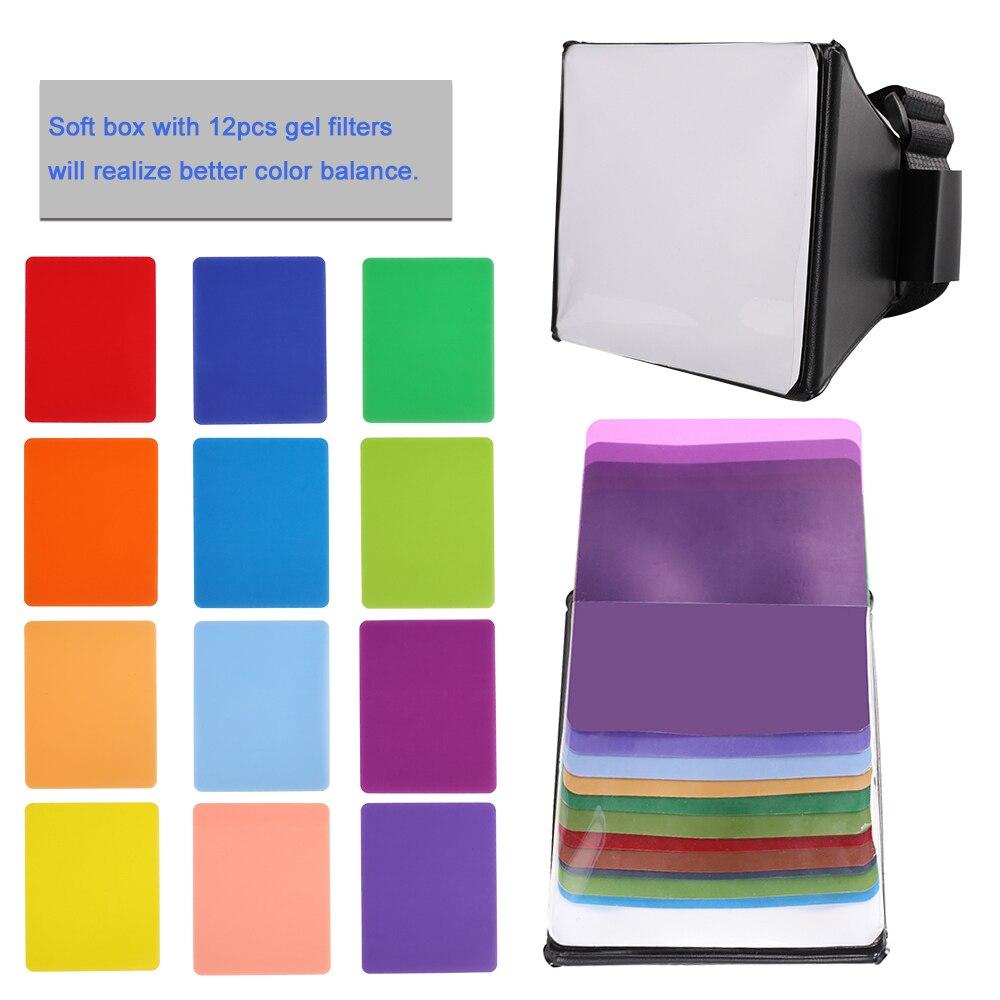 Kaliou Flash Softbox Diffuser Mini Softbox Equipment Foldable Mushy Field Flash + 12Pcs Gel Filter Colour Stability For Canon Eos Nikon