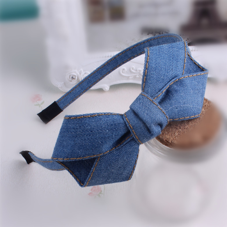 High Quality Denim Large Bow Headband For Girls Denim Boutique Hair Bows Hairbands Girls Hair Accessories Headwear high quality abs 10mm black white plain lady plastic headband no teeth diy resin headband hair accessories headwear