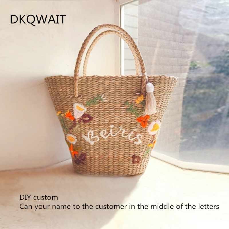 DIY Customized name Tassel Bucket Basket Bag Bohemia Women Summer Beach Embroidery Straw Shoulder Tote Rattan Bag custom made цена 2017