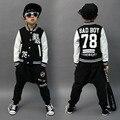 2017 Primavera Outono conjunto de roupas infantis menino mau #78 Impressão crianças traje jaqueta ternos do esporte Hip Hop harem pants & moletom
