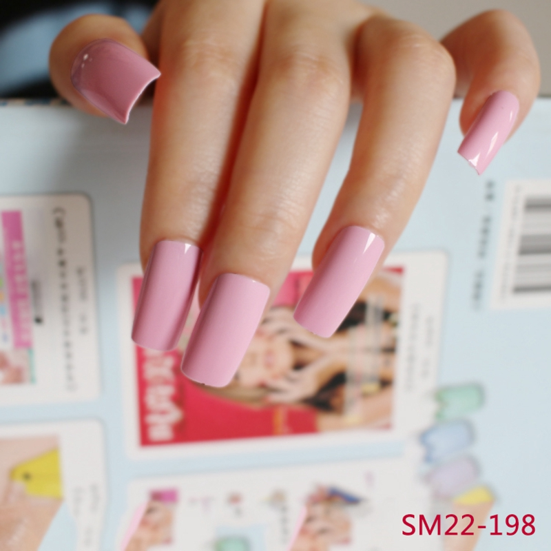 20pcspack Light Pink Long False Nail Art Tips Acrylic Artificial
