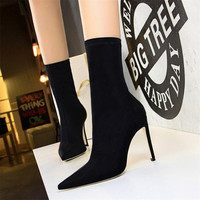 Spring and Autumn simple women's boots stiletto super high heeled sexy nightclub pedicure was thin pointed Lycra stretch booties