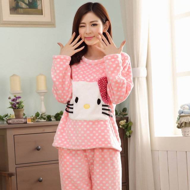 35aa9b1e4a0b Casual Ladies Winter Pyjamas Women Long Sleeve Cute Hello Kitty Flannel  Pajama Sets Cartoon Sleepwear Home