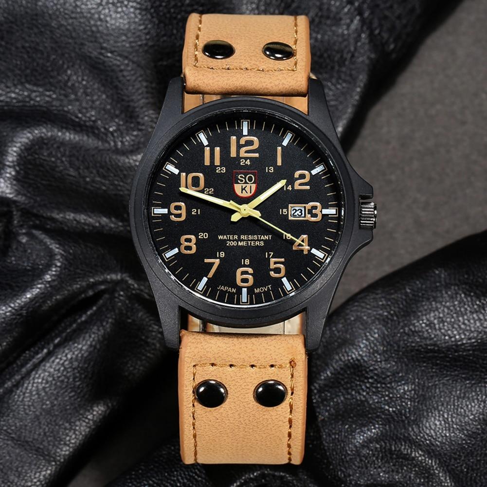 Новинка; Лидер продаж Винтаж классический Для мужчин Дата из искусственной кожи ремешок Спорт Кварцевые часы