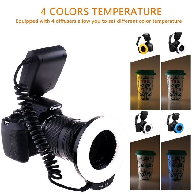 capsaver RF-550D LED Macro Ring Flash for Canon Nikon Olympus Panasonic Pentax Camera External Ring Studio Flash Speedlite fc100