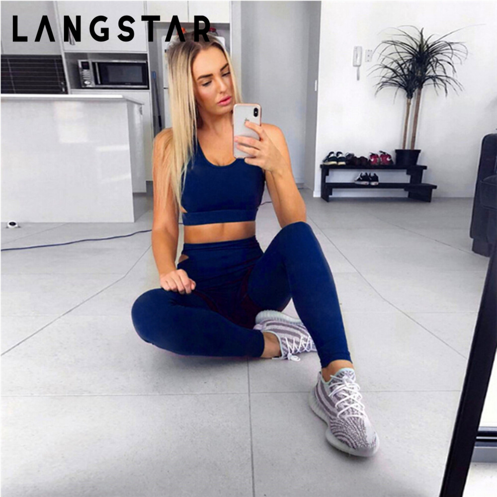 LANGSTAR Yoga Set Trendy Shoulder Strap Backless Crop Top with Long Pants Women Sports Suit Fintess Gym Yoga Set Bra+Long Pants цена