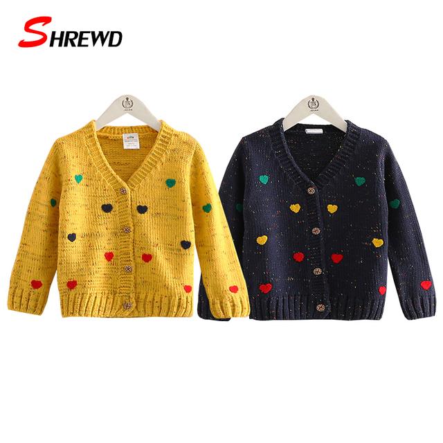 Amor Cardigan suéteres Para Niños 2016 Otoño Nueva Moda Para Niños de Manga Larga Ocasional Del Todo-Fósforo de Ropa Para Niños Niñas 4255 W