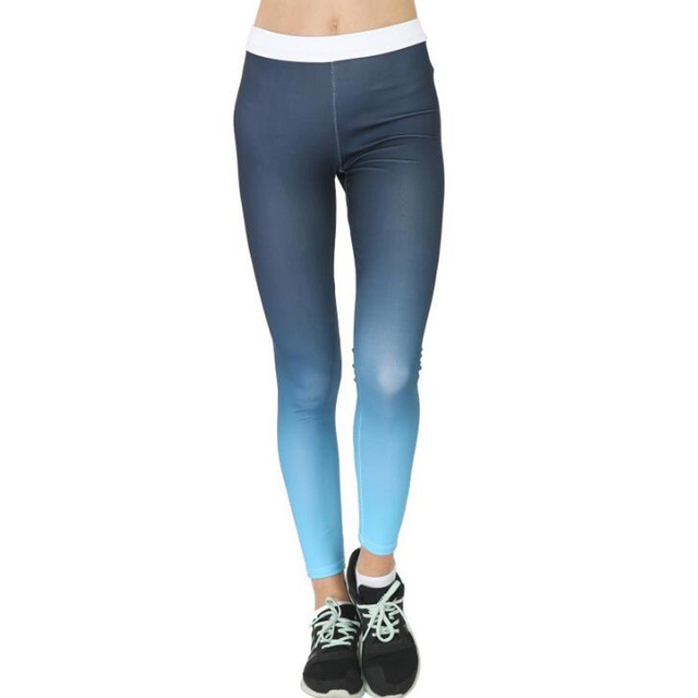 Women Fitness Leggings Femme Blue Ombre Print High Waisted Pants Sportswear Workout Jeggings Woman Trousers Pantalones Mujer