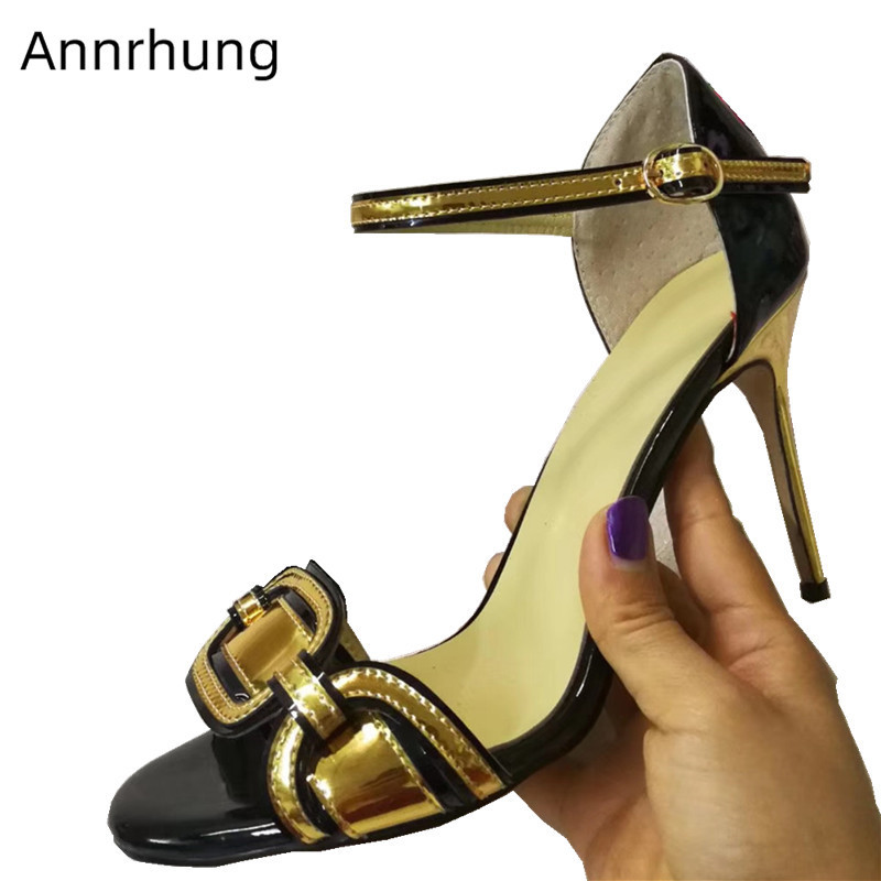 New Arrival Mixed Color Patent Leather Gladiator Sandals Women Stiletto High Heel Peep Toe Sandalias Fashion Party Shoes WomanNew Arrival Mixed Color Patent Leather Gladiator Sandals Women Stiletto High Heel Peep Toe Sandalias Fashion Party Shoes Woman
