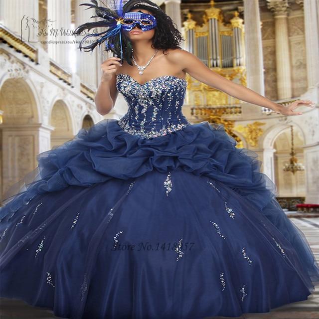 Baratos Azuis Marinhos Vestidos Quinceanera Inchado 2017 Vestidos de Debutante Vestidos de Pedrinhas Masquerade Vestidos de Festa de 15 Años Jaqueta