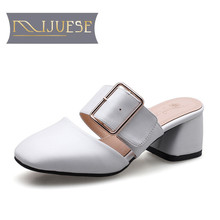 MLJUESE 2018 women slippers summer style fashion  white color non-slip Grid mules high heels sandals women size 34-43