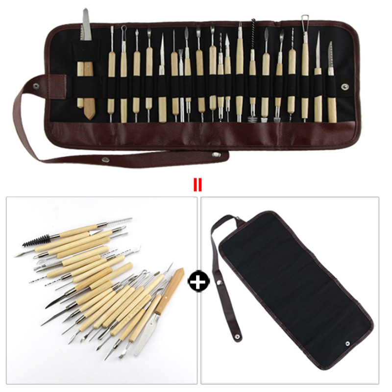 22 Pcs Polymer Clay Pottery Ceramics Tools With Pencil Case Pottery Sculpting Ceramic Polymer Clay Tools Carving Modelling Tool