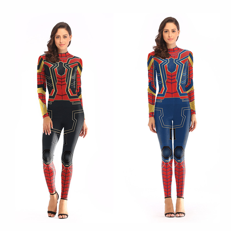 Anime Spider-man Cosplay Costumes Women Girls Zentai Jumpsuits 3D Print Iron Spider Man Bodysuit Daily Casual Swimsuit New