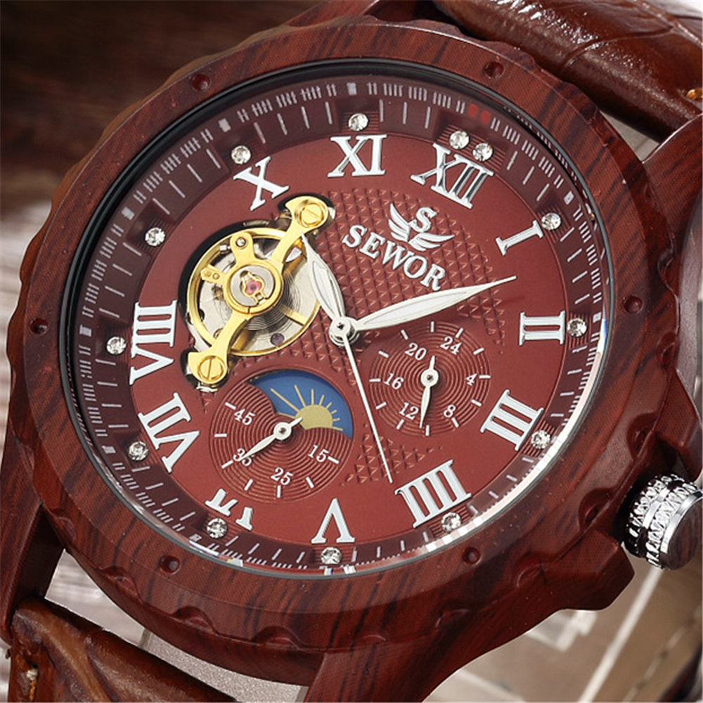 2017 SEWOR Classic Wood Colours Watches Men Skeleton Mechanical Watch Leather Luxury Man Clock Montre Homme Military Wristwatch sewor c1257