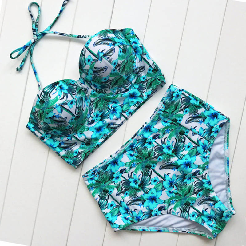 2019 High Waist Bikinis Women Swimsuit Plus Size Swimwear Bathing Suits Retro Floral Push Up Bikini Set Beach Wear