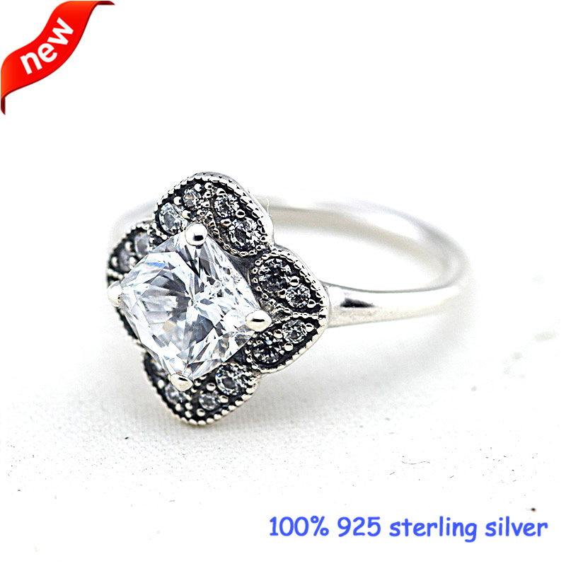 6025ba02c4 Crystalized floral plata Anillos con CZ 100% 925 joyas de plata esterlina  DIY al por mayor 09r059