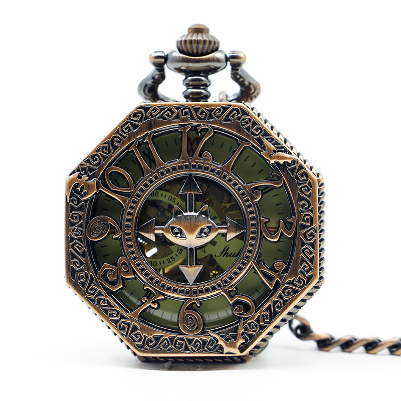 Vintage Quartz Pocket Watch Luminous Mechanical Hand Winding Fob Clock Arabic Numbers Case Hollow Pendant Gift PJX1267