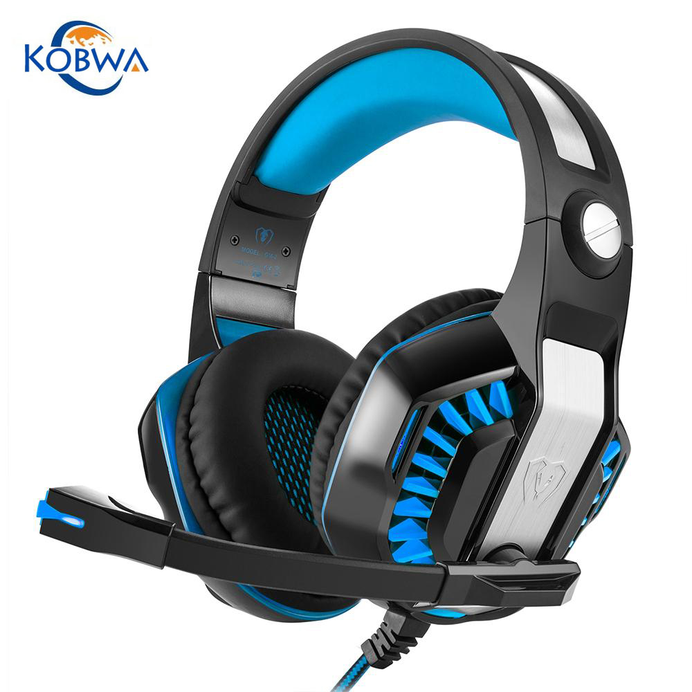 Kobwa High Quality Professional Gaming Wired Headset HD Stereo Music Noise Reduction LED Headphone With Mic For PS4 Xbox One PC high quality wired headphone for ps4 gaming headset headphone microphone mic chat for playstation 4 ps4 black