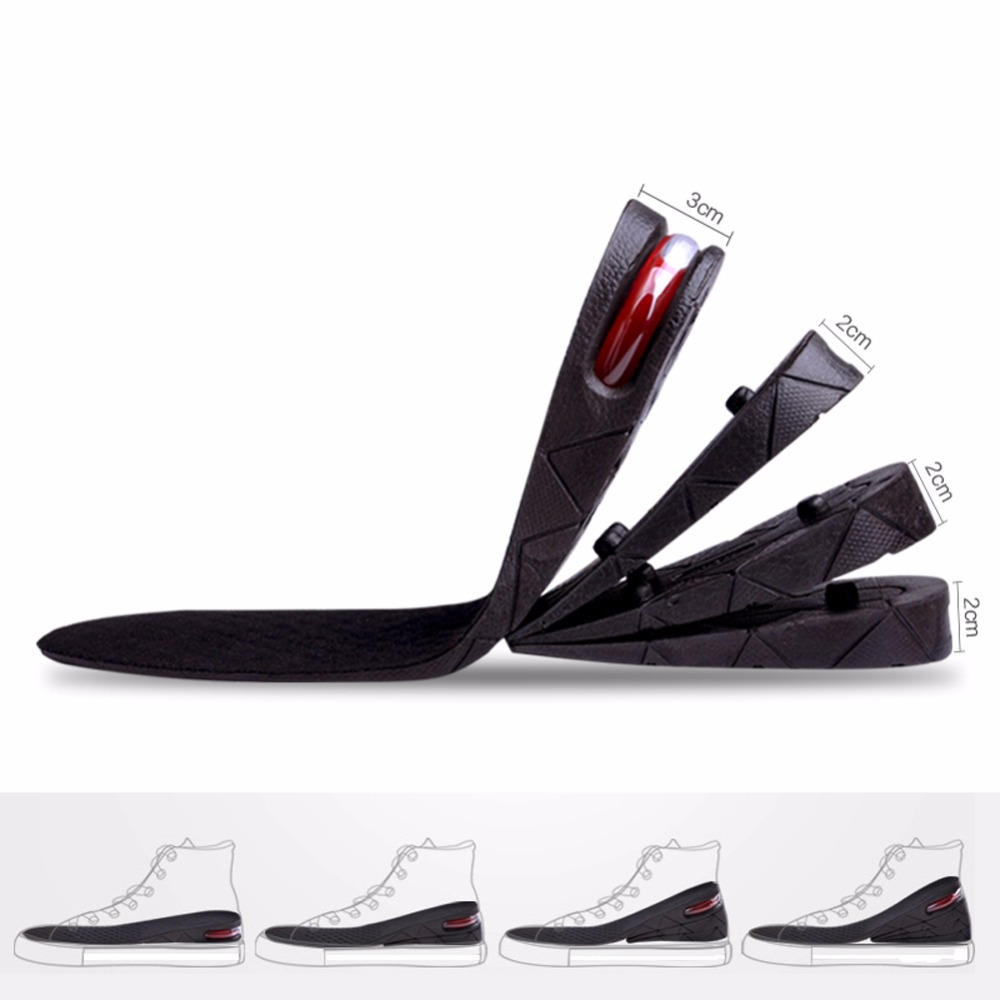 1 Pair Shoe Insole Adjustable Height Shoe Insole 3-Layer Sport Insole Air Cushion Heel Insert Increase Taller High Tops 3Colors