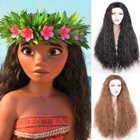 Girls Adult Animie Polynesia princess Moana Wig 80cm Long Wavy Synthetic Hair Costume Wigs (Black /Brown) +Wig Cap