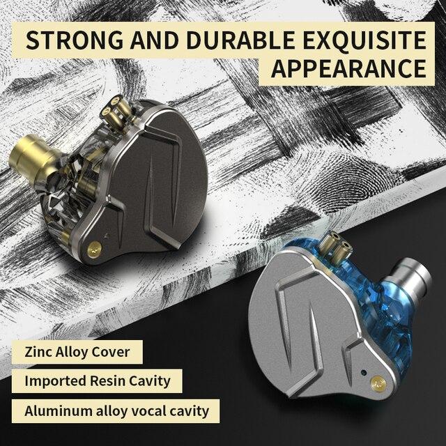 KZ ZSN Pro In Ear Earphones Hybrid technology 1BA+1DD HIFI Bass Metal Earbuds Sport Noise Cancelling Headset Monitor 5