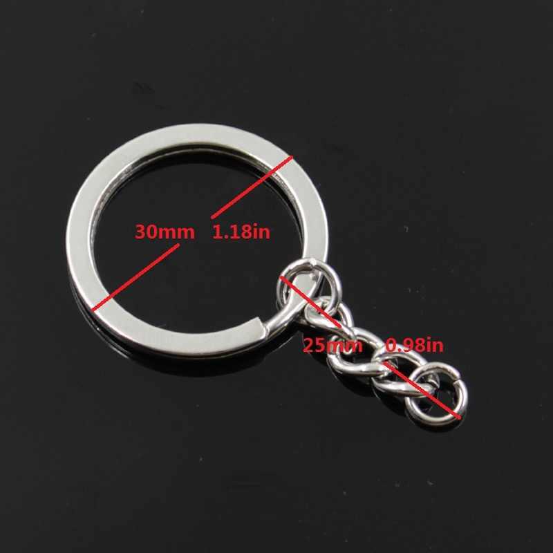 Nuevo llavero de 30mm de moda para hombre, cadena de soporte de metal para manualidades, hilo vintage, tejido de ganchillo, 31x12mm de plata colgante de regalo