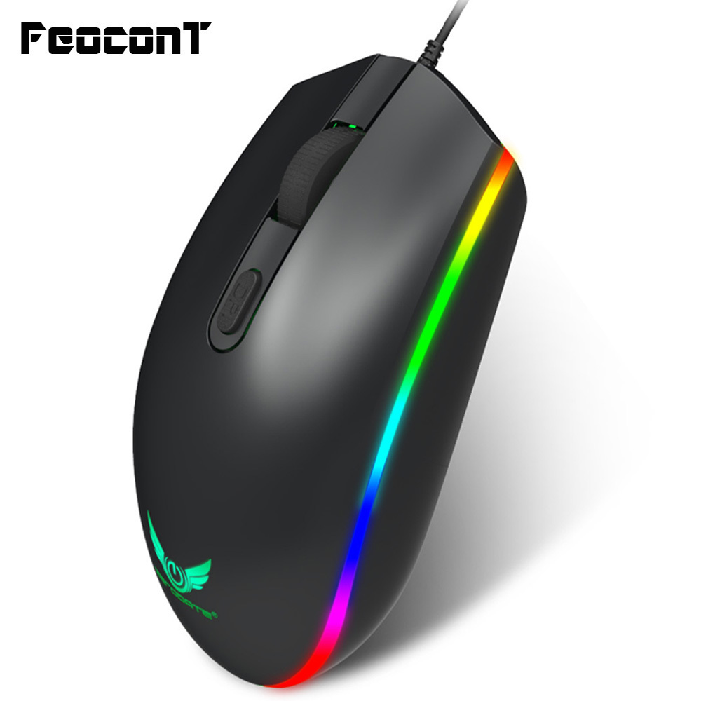 Optical USB Wired Gaming Mouse 1600DPI Mini Mice RGB Colorful Lights Wired Mouse For Laptop PC Computer Business Office Gamer-in Mice from Computer & Office