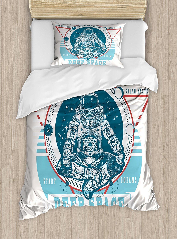 Указатель фаз Луны постельное белье Deep Space гармонии и медитации астронавт в позе лотоса 4 шт. Постельное белье синий