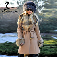 FURSARCAR Natural Real Fur Coat Women Woolen Genuine Leather Detachable Raccoon Fur Collar Slim Winter Warm Real Fur Long Coats