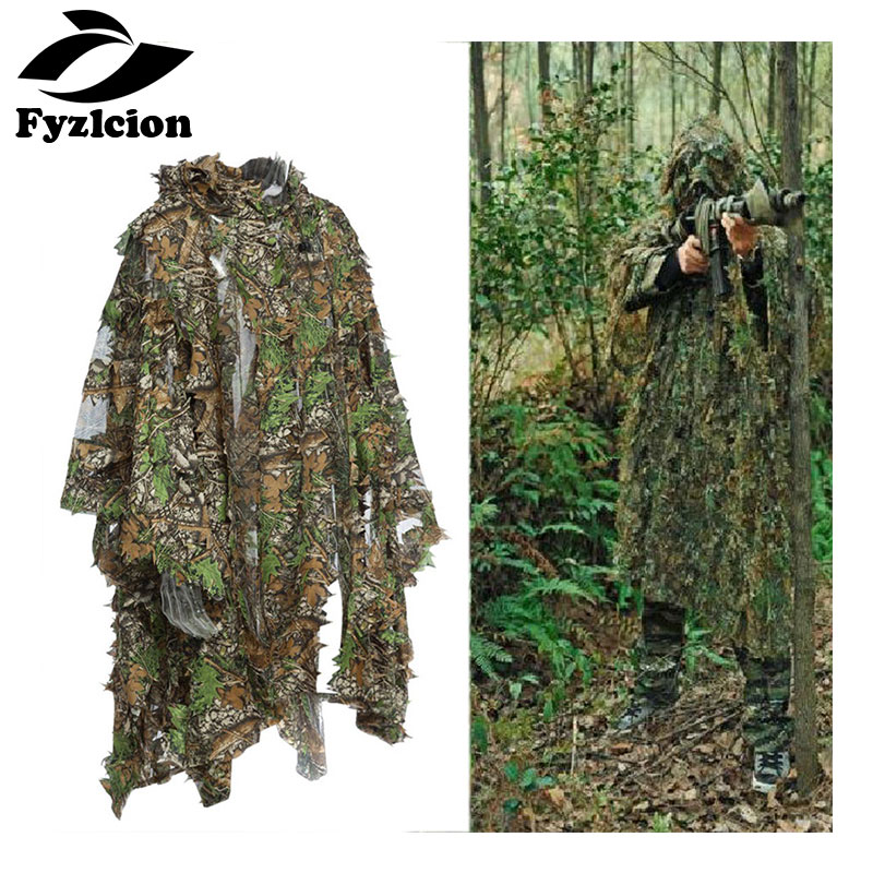 Fyzlcion 3D Hunting Camouflage Ghillie With Cap Suit Clothes Jungle Cloak Poncho Camo Bionic Leaf For Sniper Photography