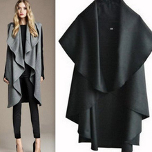2017 Spring Trendy Coat Cardigan Lapel Irregular Casual Trench Jacket Solid Outwear Big Cloak Loose Long Cape Woolen Coat Women