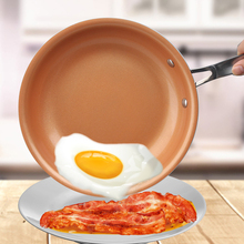 лучшая цена Professional Household Flat Bottom Pan Practical Nonstick Skillet Copper Red Pan Aluminum Ceramic Induction Skillet Frying Pans