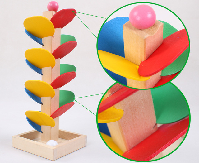 Leaf Tower Ball Game Colour Disassembly Reversed Ball Game Children's Puzzle Wooden Assembly Toys for kids