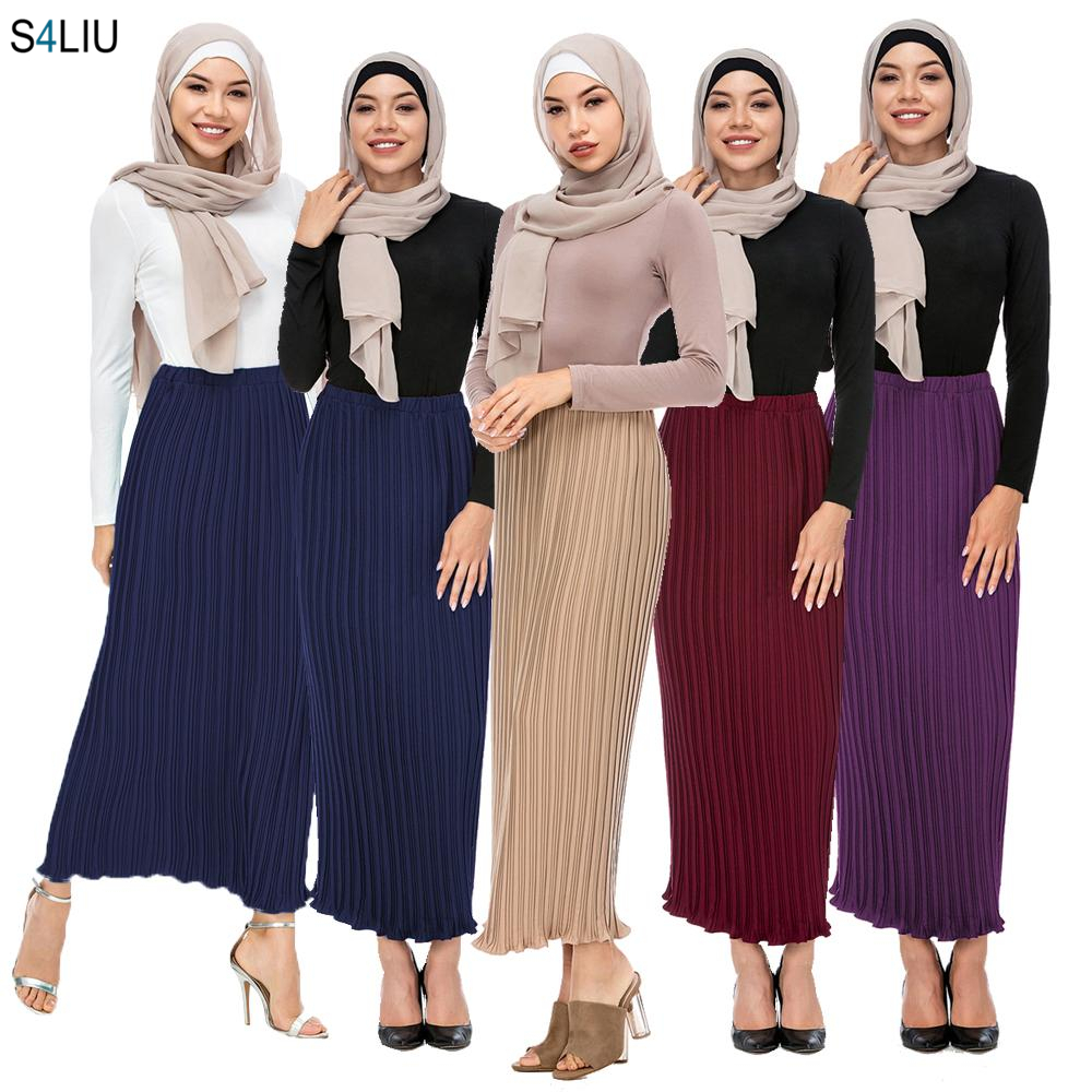 Fashion Women Pleated Skirt Modest Muslim Chiffon Long Skirt Elastic Elegant Slim Straight Ankle-Length Islamic Party Clothing