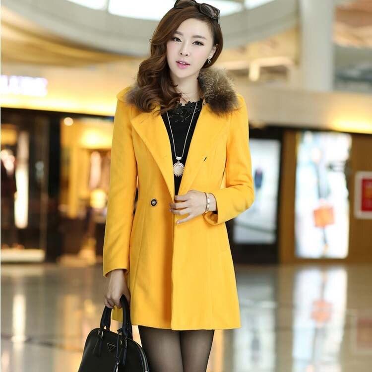 2014 runway woolen trench outerwear desigeal fashion women's fur coat long thick parka womens  -  Guangzhou Rainbow Technology Ltd. store