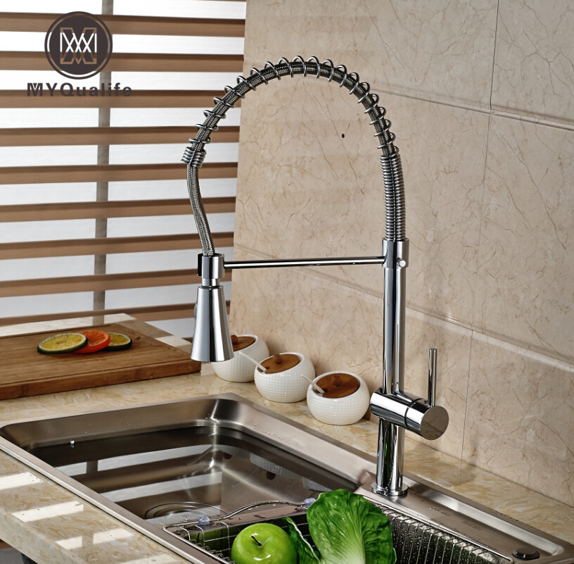 Polished Chrome Deck Mount Kitchen Sink Mixer Taps One Hole with Hot and Cold Water Hose Kitchen Faucet swanstone dual mount composite 33x22x10 1 hole single bowl kitchen sink in tahiti ivory tahiti ivory
