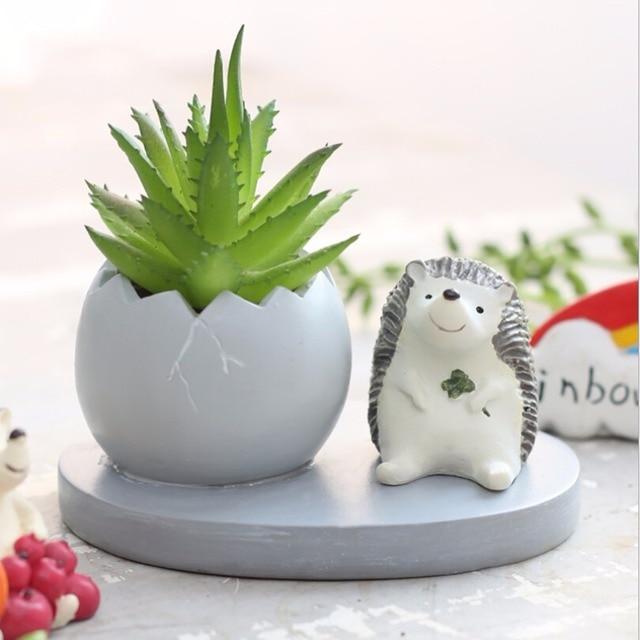 Us 4 88 22 Off Hot Cute Succulent Plants Flesh Resin Flower Pot Round Small Mini Home Garden Desk Plant Pot Flower Planter Decoration In Flower