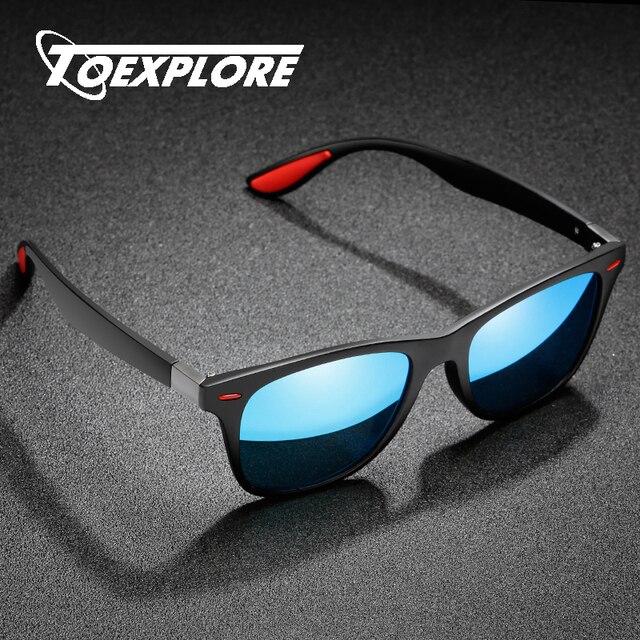TOEXPLORE Classic Square Men Polarized Sunglasses Women Driving Goggle Mirror Brand Design Eyewear Outdoor Vintage Glasses UV400