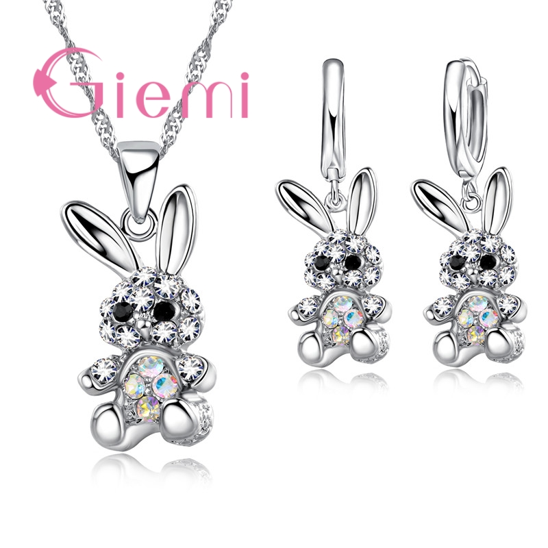 Cute 925 Sterling Silver Necklace Earrings Jewelry Set With Shiny CZ Crystal Rabbit Pendants for Women Girls Gifts