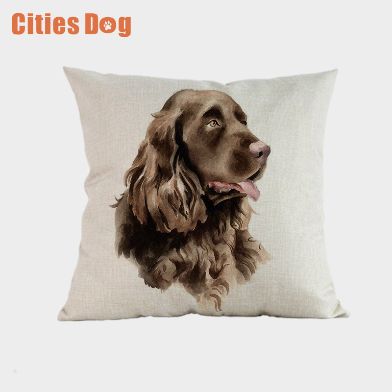 Animal Dog Cushion Cover Throw Pillow Cove Sussex Spaniel Cushions Christmas Gift Pet Home Decorative Pillowcase Cojines
