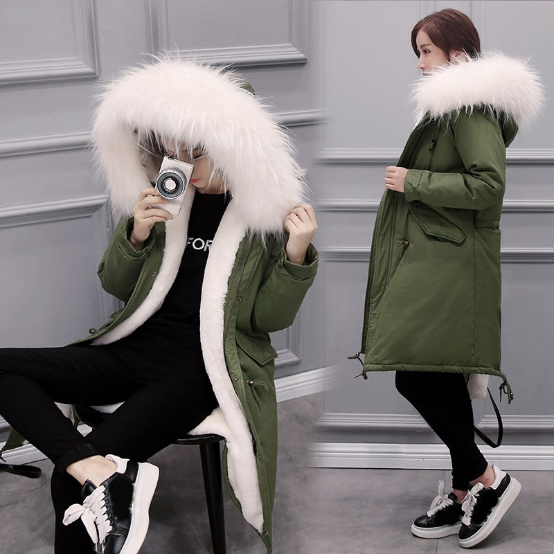 Winter Autumn Women Long Thick Warm Cotton Jacket Hooded Coat Female Fur Collar Slim Jacket Ladies Parka Outerwear Overcoat
