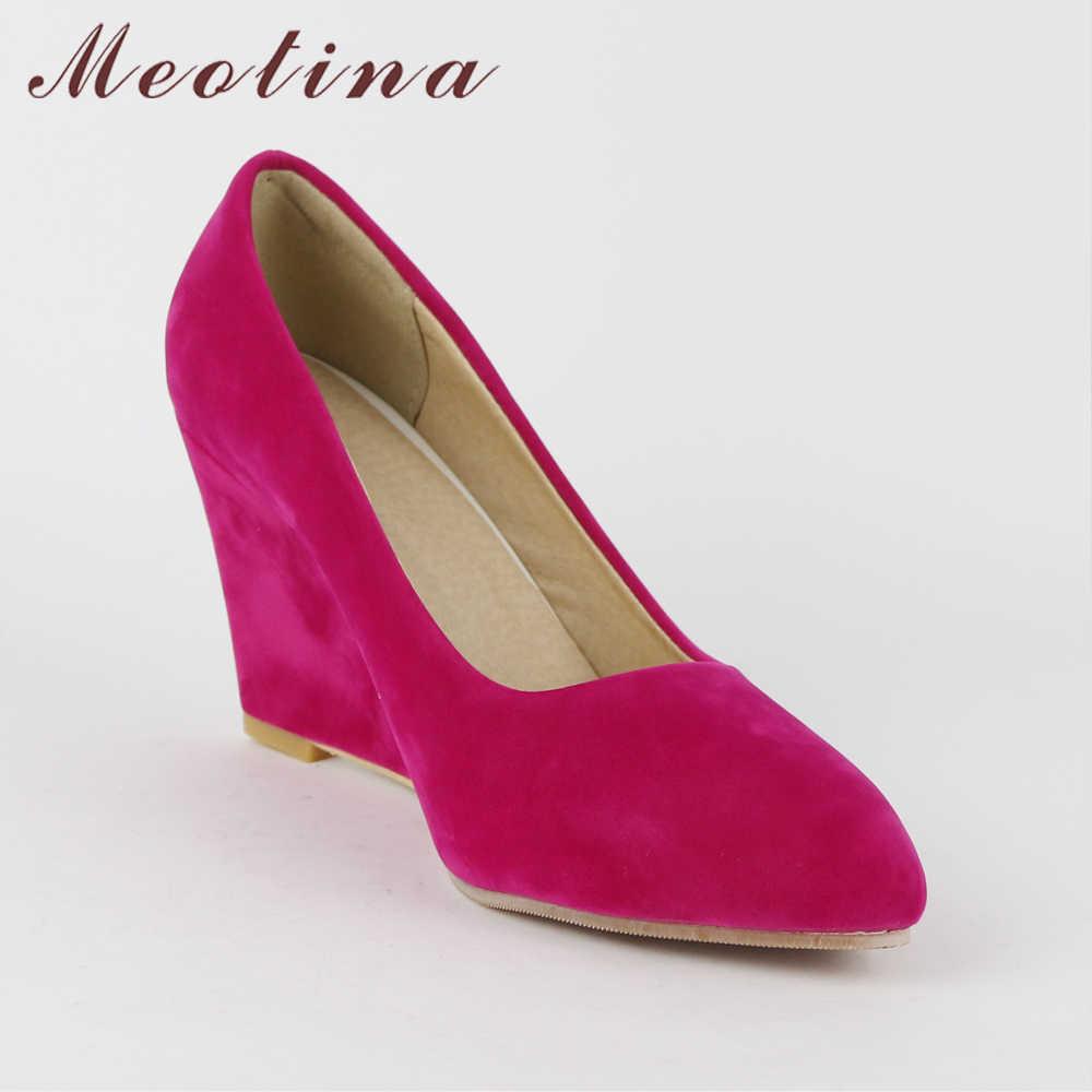 Meotina รองเท้าผู้หญิง Beige Flock ชี้ Toe รองเท้าส้นสูง Wedges รองเท้าผู้หญิงรองเท้ารองเท้าส้นสูงธรรมดา Beige ขนาด 34-43