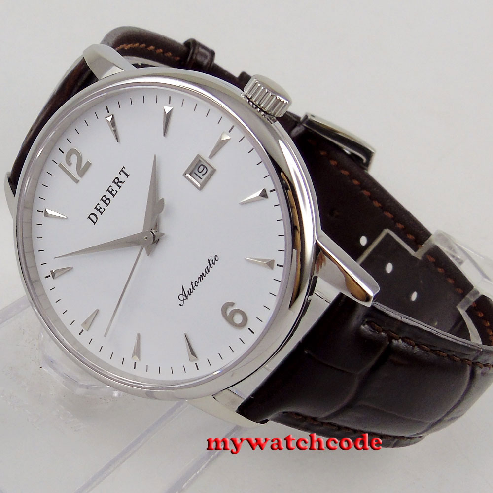polished 41mm Debert white dial sapphire glass miyota 8215 automatic men watchpolished 41mm Debert white dial sapphire glass miyota 8215 automatic men watch